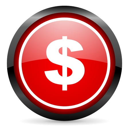 us dollar round red glossy icon on white background photo