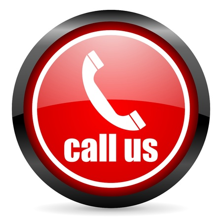 call us round red glossy icon on white background photo