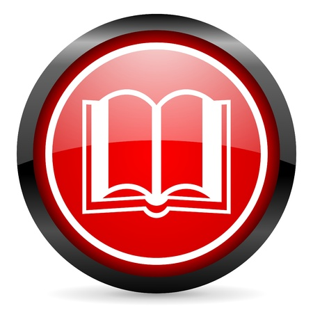 book icon: book round red glossy icon on white background