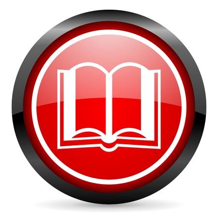 Buch runde rot glänzend Symbol auf weißem Hintergrund Standard-Bild