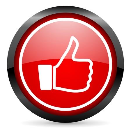 thumb keys: pulgar arriba ronda icono rojo brillante sobre fondo blanco Foto de archivo