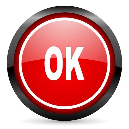 ok round red glossy icon on white background Stock Photo - 16506025