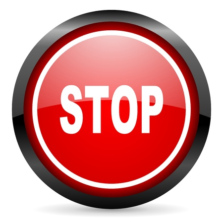 stop round red glossy icon on white background Stock Photo - 16506065