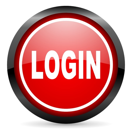 login round red glossy icon on white background photo