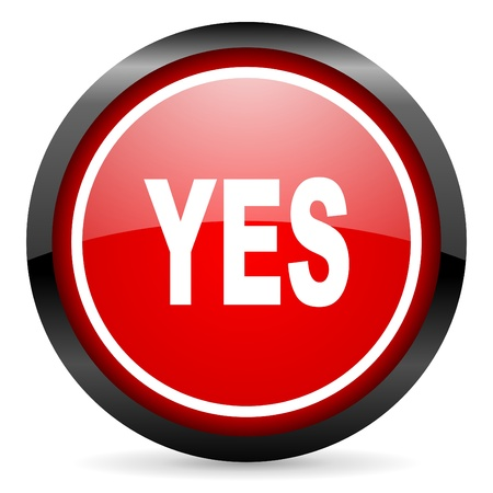 yes round red glossy icon on white background Stock Photo - 16506048