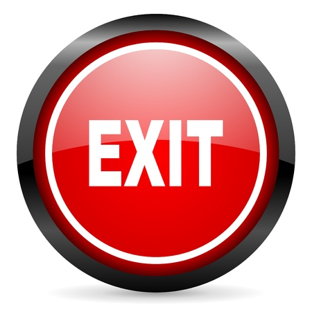 exit round red glossy icon on white background Stock Photo - 16506029
