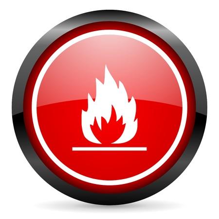 흰색 배경에 빨간 광택 아이콘 라운드 불꽃 스톡 사진
