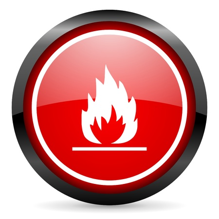 flames round red glossy icon on white background photo