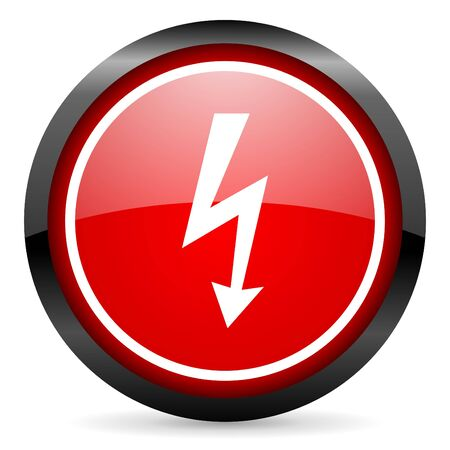 lightning round red glossy icon on white background photo