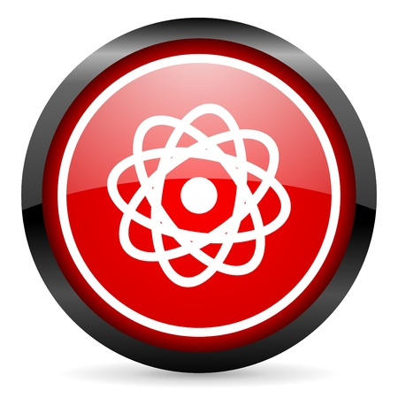 atom round red glossy icon on white background Stock Photo - 16506270