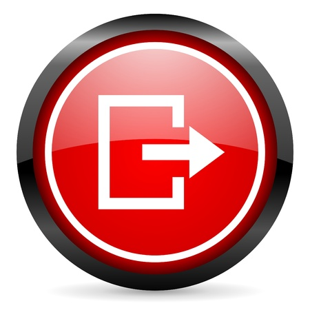 exit round red glossy icon on white background Stock Photo - 16506006