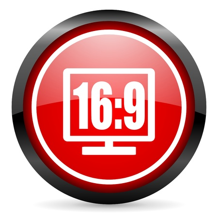 16 9 display round red glossy icon on white background photo