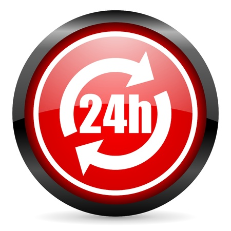 24h round red glossy icon on white background photo