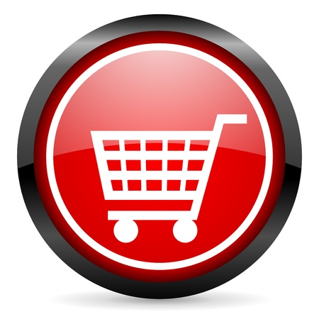 shopping cart round red glossy icon on white background Stock Photo - 16506122
