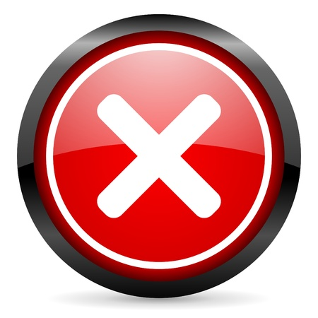 cancel round red glossy icon on white background Stock Photo - 16506044