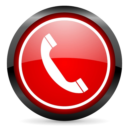 call us: telephone round red glossy icon on white background