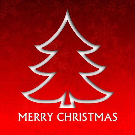 merry christmas illustration with christmas tree and snowflakes Stock Illustration - 16506296