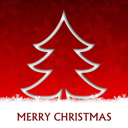 merry christmas illustration with christmas tree and snowflakes Stock Illustration - 16506298