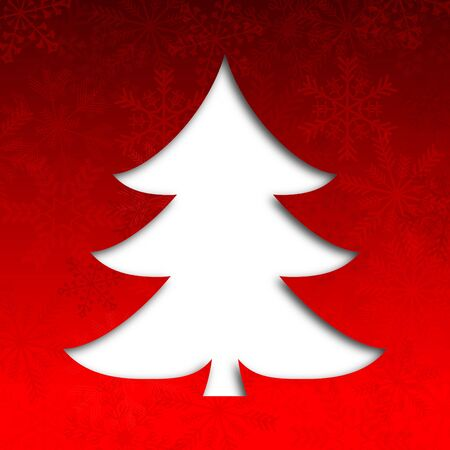 merry christmas illustration with christmas tree and snowflakes Stock Illustration - 16506305