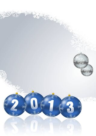 new year card with snowflakes and christmas balls photo