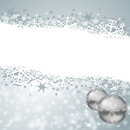 christmas card with snowflakes and christmas balls photo