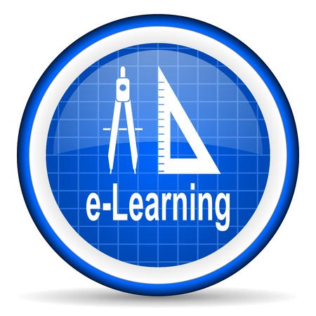 e-learning blue glossy icon on white background photo