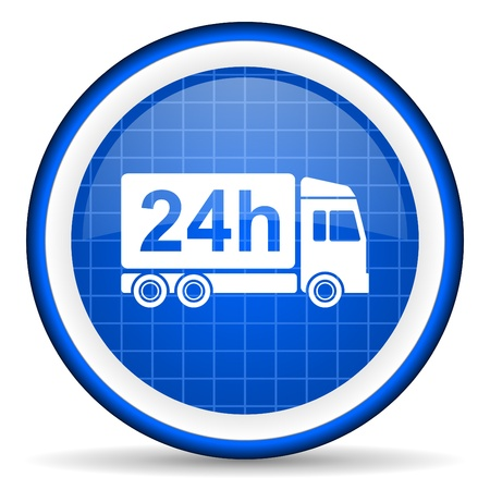 delivery 24h blue glossy icon on white background photo
