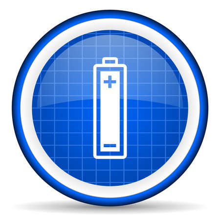 accuse: battery blue glossy icon on white background
