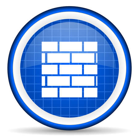 firewall blue glossy icon on white background Stock Photo - 16581095
