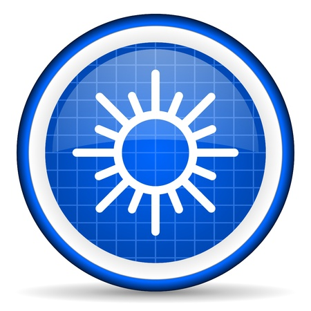 sun blue glossy icon on white background photo