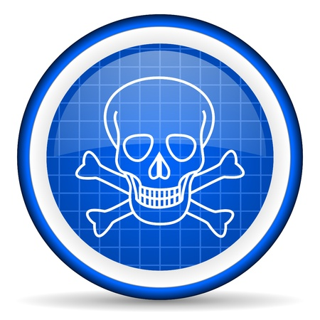 skull blue glossy icon on white background Stock Photo - 16581473