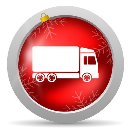 delivery red glossy christmas icon on white background  photo