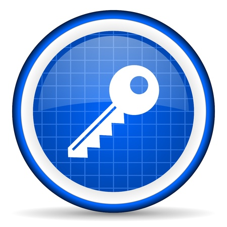 key blue glossy icon on white background Stock Photo - 16581315