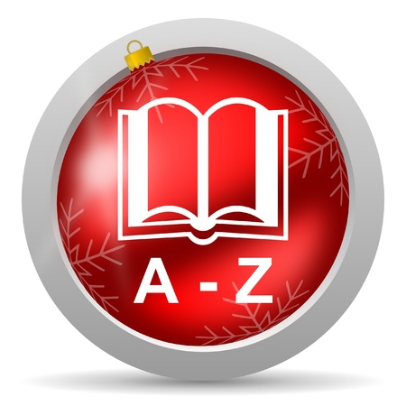 dictionary red glossy christmas icon on white background Stock Photo