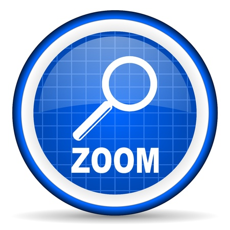 zoom blue glossy icon on white background Stock Photo - 16581434