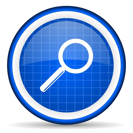 search blue glossy icon on white background Stock Photo - 16581356