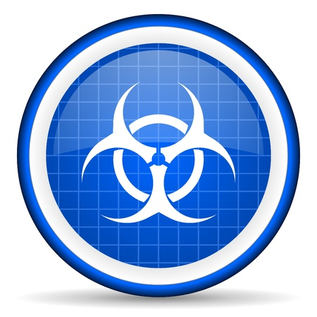 bacterioa: virus blue glossy icon on white background