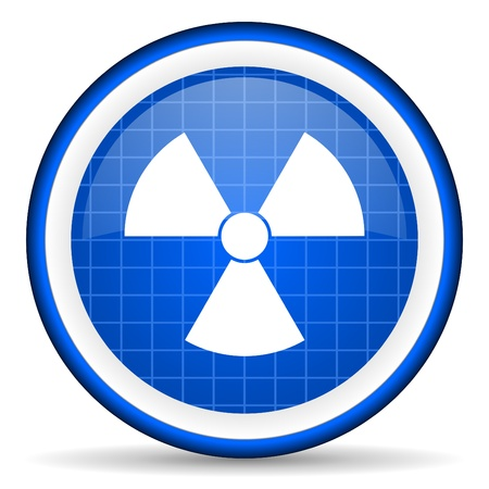 radiation blue glossy icon on white background photo