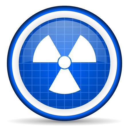 radiation blue glossy icon on white background Stock Photo - 16581129