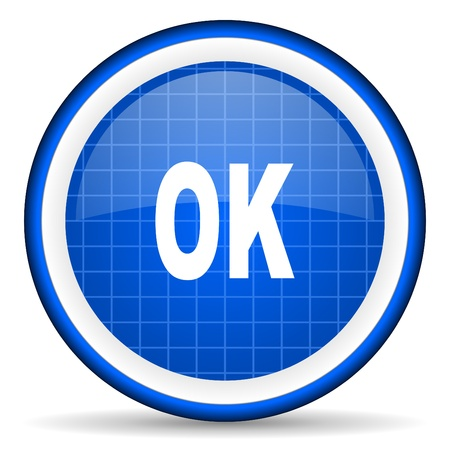 ok blue glossy icon on white background Stock Photo - 16581237