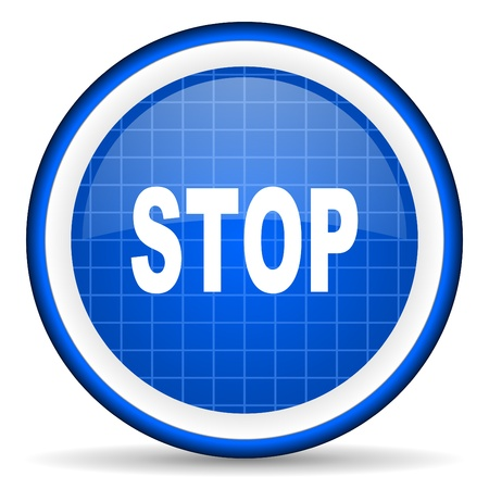 stop blue glossy icon on white background Stock Photo - 16581322