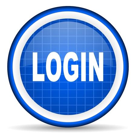 login blue glossy icon on white background photo