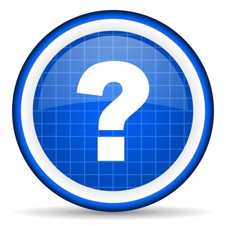 Fragezeichen blau glänzend Symbol auf weißem Hintergrund Standard-Bild