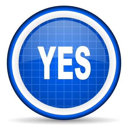 yes blue glossy icon on white background Stock Photo - 16581231