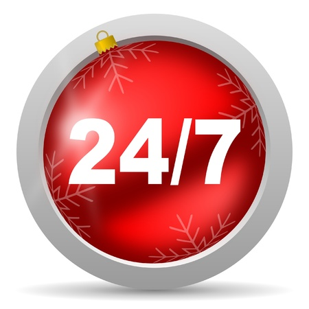 247 red glossy christmas icon on white background photo