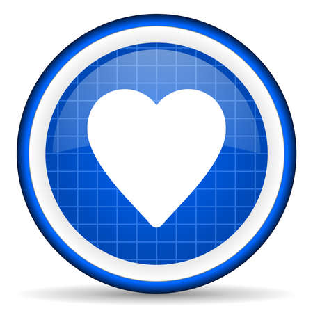heart blue glossy icon on white background Stock Photo