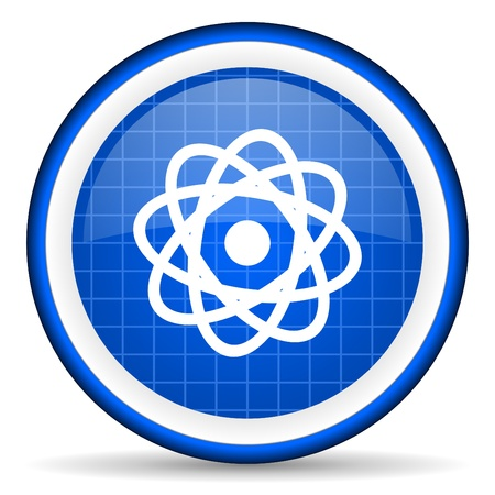 atom blue glossy icon on white background Stock Photo - 16581481
