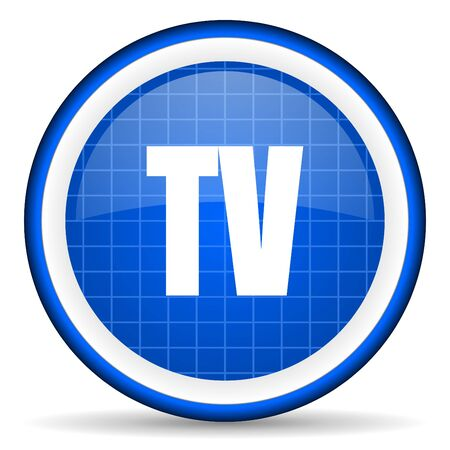 tv blue glossy icon on white background photo