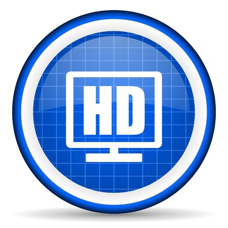 hd display blue glossy icon on white background photo