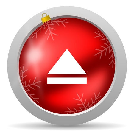 eject red glossy christmas icon on white background Stock Photo - 16580435